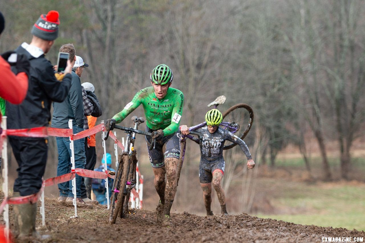 Gage Hecht and Anthony Clark had fast starts and led the chase of the Cannondale p/b CyclocrossWorld teammates. Elite Men. 2018 Cyclocross National Championships, Louisville, KY. © A. Yee / Cyclocross Magazine
