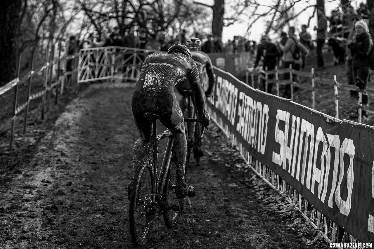 Midway through the race, White and Hyde were off the front. Elite Men. 2018 Cyclocross National Championships, Louisville, KY. © A. Yee / Cyclocross Magazine