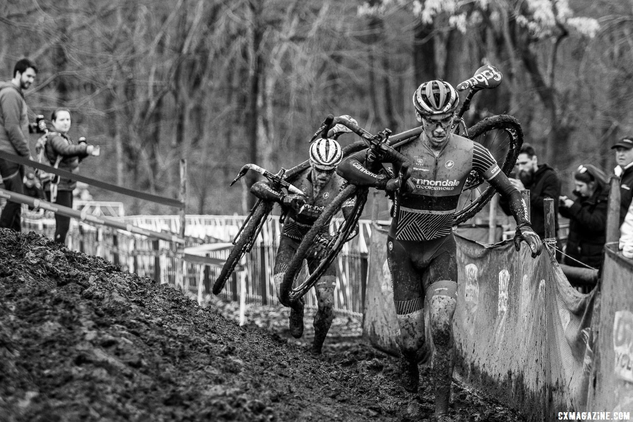 Curtis White and Stephen Hyde hit the front and left everyone stuck in the mud. Elite Men. 2018 Cyclocross National Championships, Louisville, KY. © A. Yee / Cyclocross Magazine
