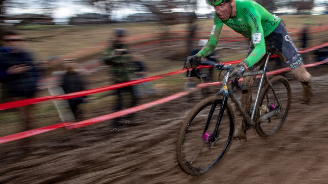 Gage Hecht was just off the lead after the first lap. Elite Men. 2018 Cyclocross National Championships, Louisville, KY. © A. Yee / Cyclocross Magazine