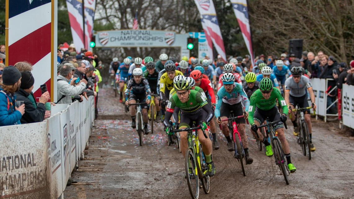 The Elite Men's race at Louisville Nationals had a lot of question surrounding it. Elite Men. 2018 Cyclocross National Championships, Louisville, KY. © A. Yee / Cyclocross Magazine