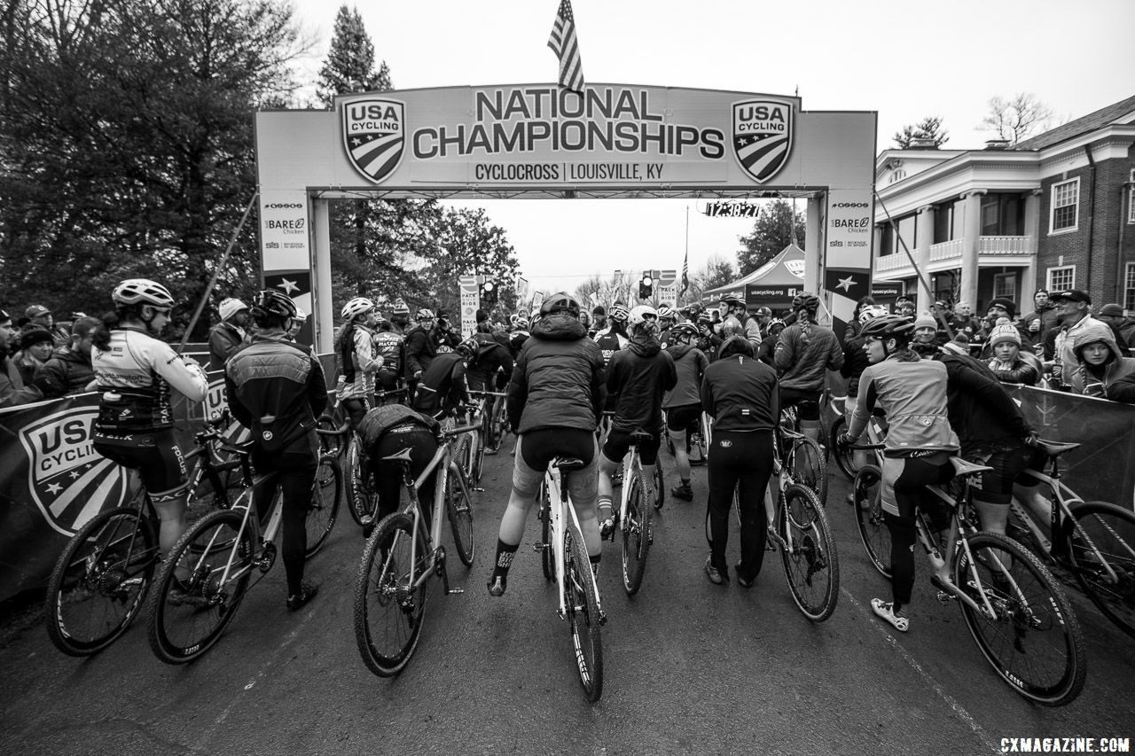 The Elite women sit at staging waiting for the green light. Elite Women. 2018 Cyclocross National Championships, Louisville, KY. © A. Yee / Cyclocross Magazine