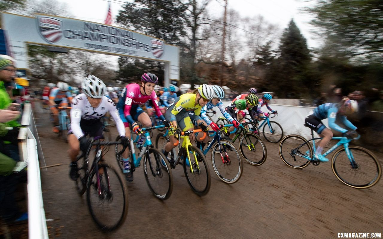 As she has done all season, Ellen Noble leads out the holeshot. Elite Women. 2018 Cyclocross National Championships, Louisville, KY. © A. Yee / Cyclocross Magazine
