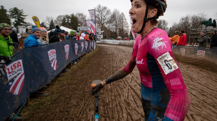 Even Sunny Gilbert was a little surprised by her big ride. Elite Women. 2018 Cyclocross National Championships, Louisville, KY. © A. Yee / Cyclocross Magazine