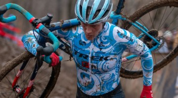 Compton wore her regular KFC Racing p/b Trek Knight kit for the first time ever on Sunday. Elite Women. 2018 Cyclocross National Championships, Louisville, KY. © A. Yee / Cyclocross Magazine