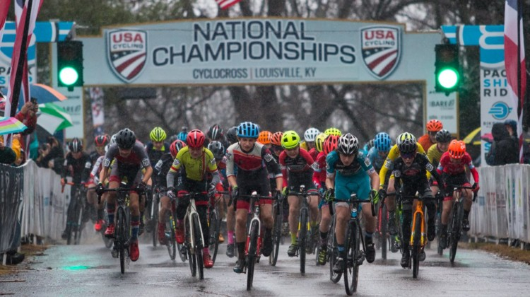 Junior Men 13-14 holeshot. 2018 Cyclocross National Championships, Louisville, KY. © A. Yee / Cyclocross Magazine