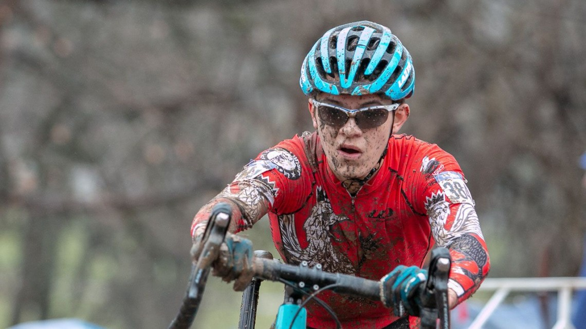 Ivan Gallego took control early to win the Junior Men 15-16 race Saturday. Junior Women 15-16. 2018 Cyclocross National Championships, Louisville, KY. © A. Yee / Cyclocross Magazine