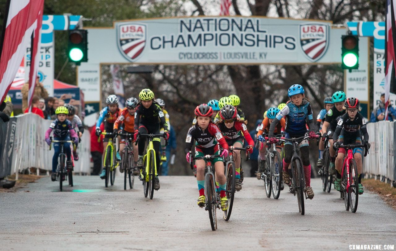 Louisville Nationals had the second-highest Junior participation ever. Junior Women 11-12. 2018 Cyclocross National Championships, Louisville, KY. © A. Yee / Cyclocross Magazine
