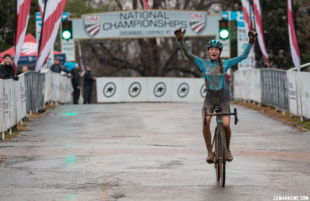 Ella Brenneman won the 13-14 junior category in Louisville. Junior Women 13-14. 2018 Cyclocross National Championships, Louisville, KY. © A. Yee / Cyclocross Magazine