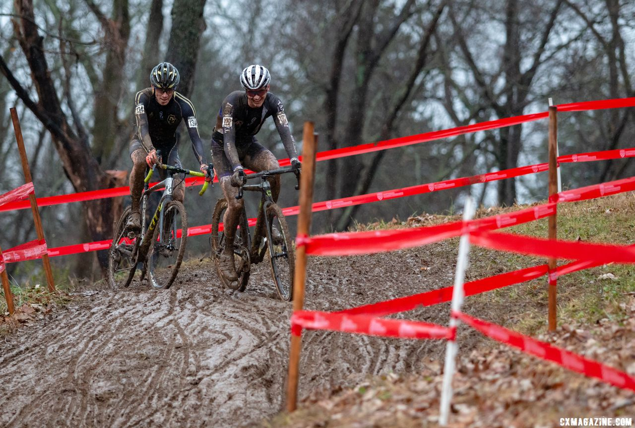 Who says there's no smiling in cyclocross? Willsey and Ellwood share a laugh while off the front. 2018 Cyclocross National Championships, Louisville, KY. © A. Yee / Cyclocross Magazine