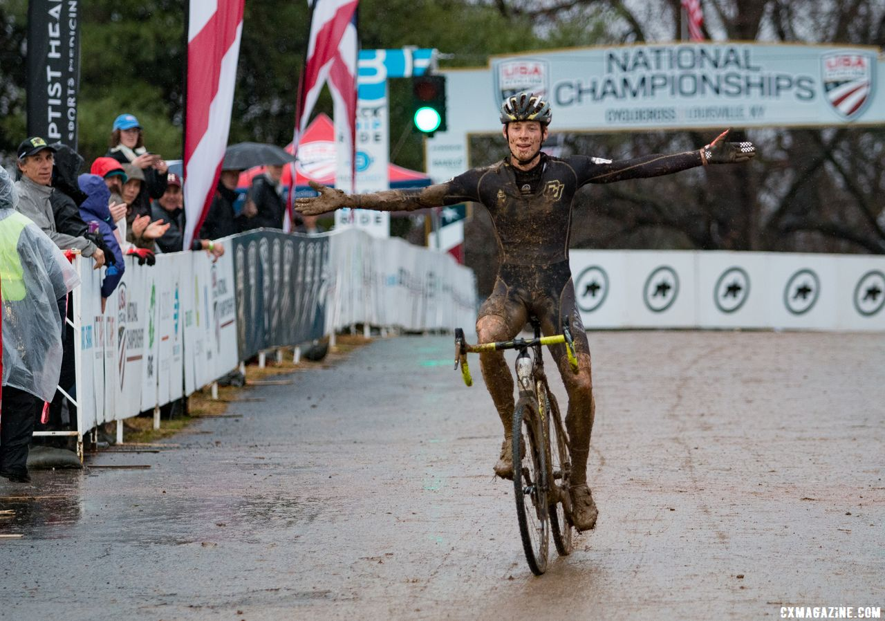 Ellwood takes the victory after many second places. Collegiate Club Men. 2018 Cyclocross National Championships, Louisville, KY. © A. Yee / Cyclocross Magazine