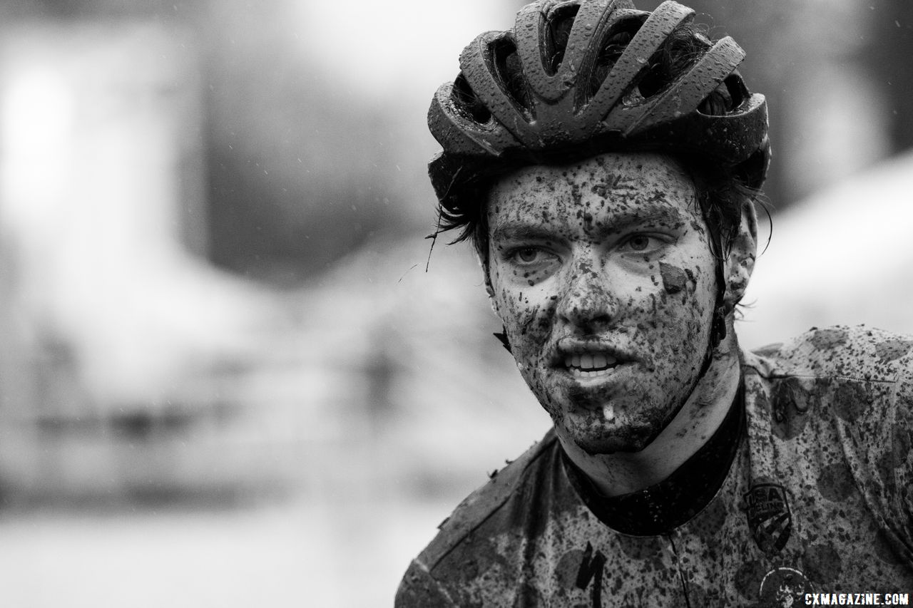 Calder Wood did not see much mud this year at Cal Poly, but his Pacific Northwest skills returned quickly. Collegiate Club Men. 2018 Cyclocross National Championships, Louisville, KY. © A. Yee / Cyclocross Magazine
