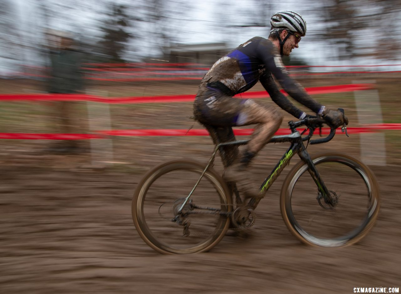 Cooper Willsey had plenty to smile about with a silver medal. Collegiate Club Men. 2018 Cyclocross National Championships, Louisville, KY. © A. Yee / Cyclocross Magazine