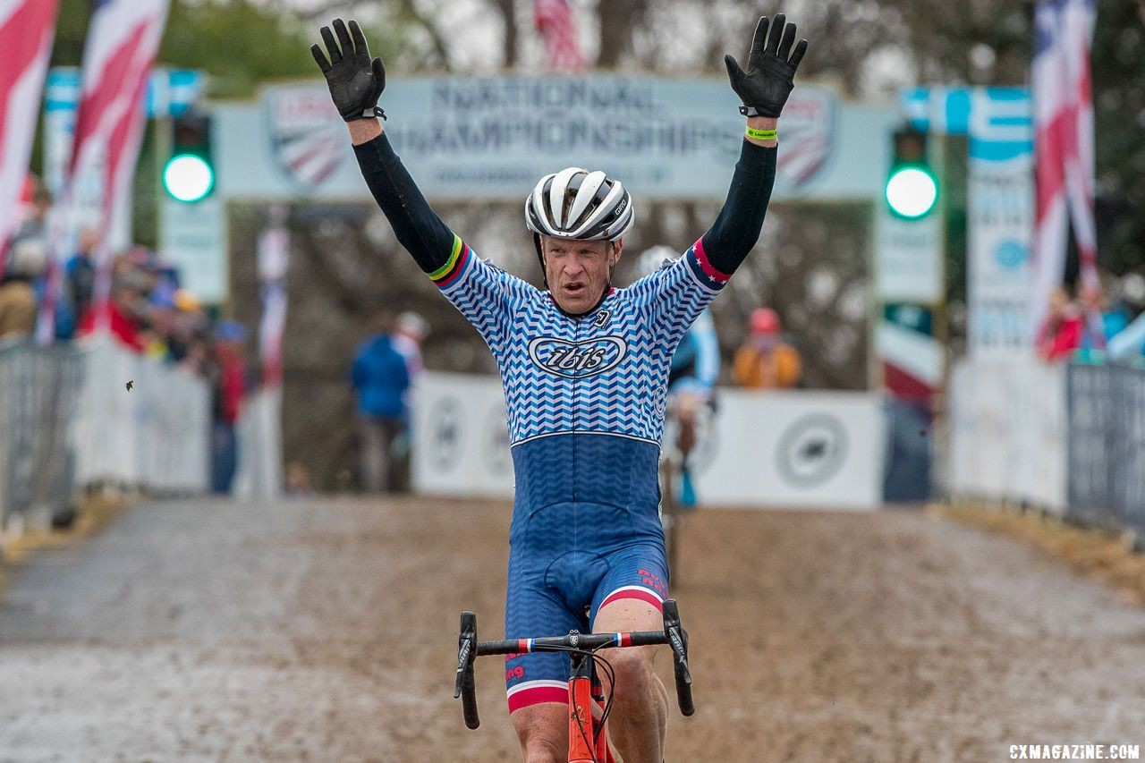 Don Myrah celebrates his Reno redemption in Louisville. Masters 50-54. 2018 Cyclocross National Championships, Louisville, KY. © K. Baumgardt / Cyclocross Magazine