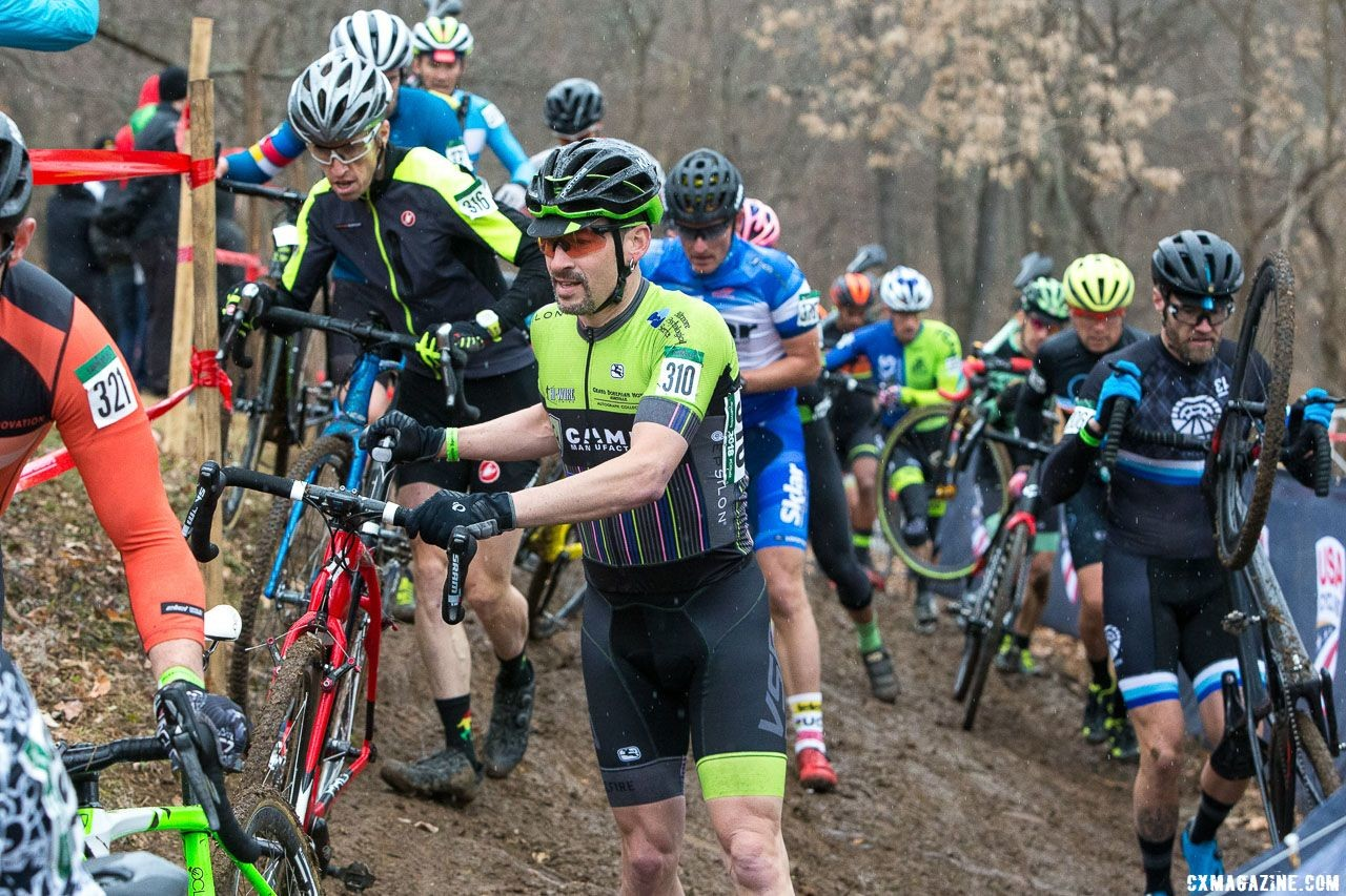 Riders take different lines through the off-camber. Masters Men 40-44. 2018 Cyclocross National Championships, Louisville, KY. © K. Baumgardt / Cyclocross Magazine