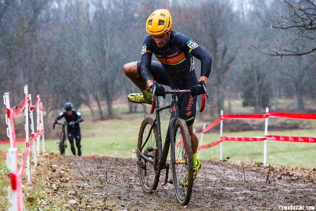 Weston Schempf rode onto the podium in third. Masters Men 40-44. 2018 Cyclocross National Championships, Louisville, KY. © K. Baumgardt / Cyclocross Magazine