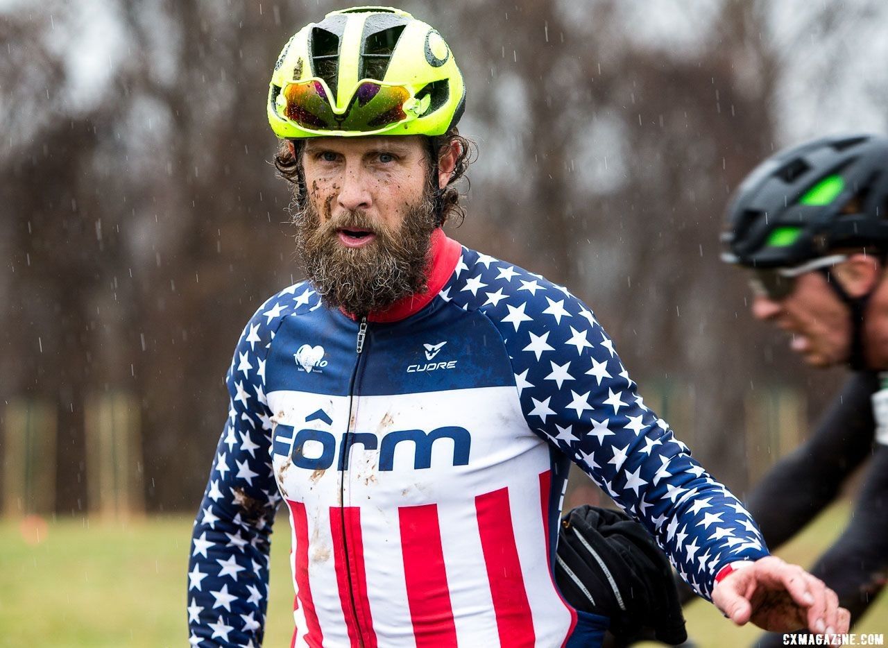 Jake Wells gets to wear the Stars-and-Stripes for another year. Masters Men 40-44. 2018 Cyclocross National Championships, Louisville, KY. © K. Baumgardt / Cyclocross Magazine