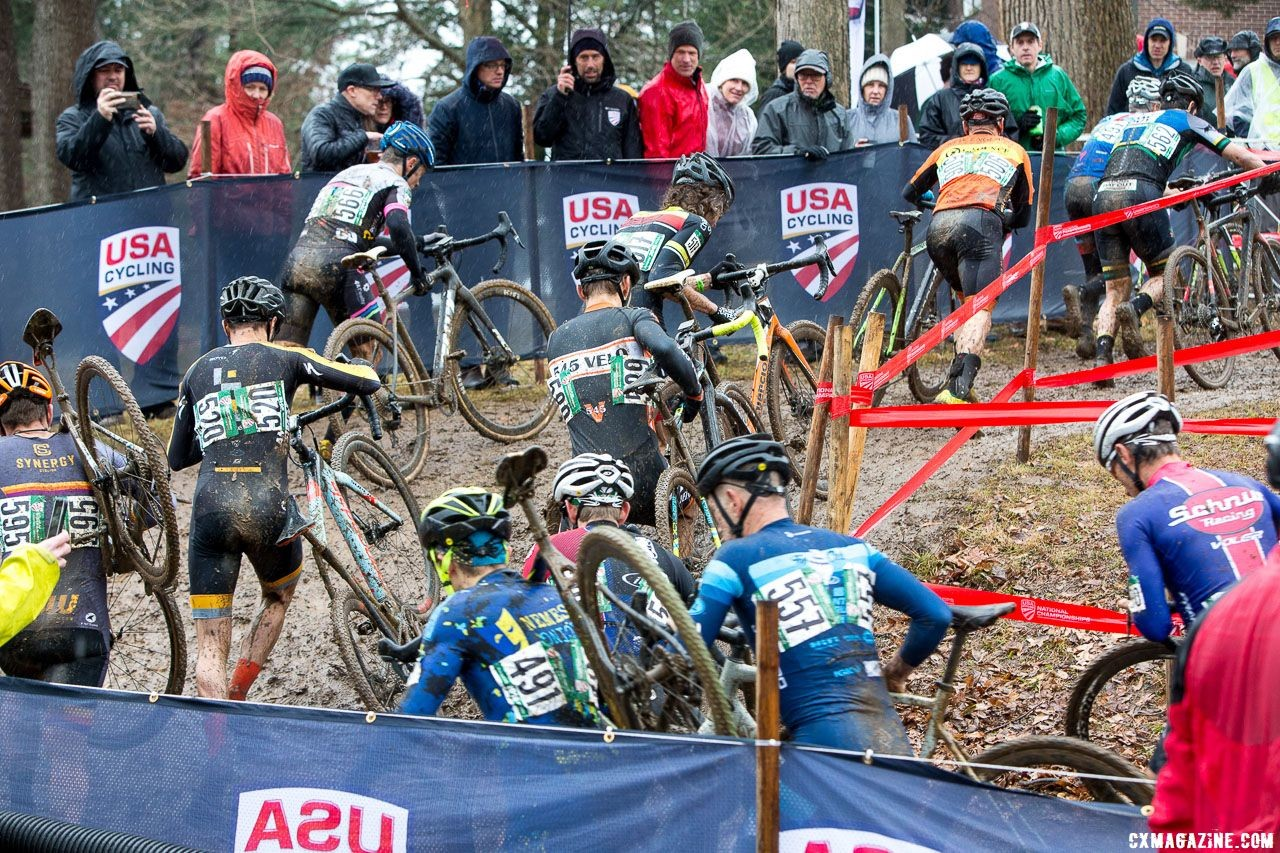 With slick conditions, most uphill sections were run rather than ridden. Masters Men 45-49. 2018 Cyclocross National Championships, Louisville, KY. © K. Baumgardt / Cyclocross Magazine