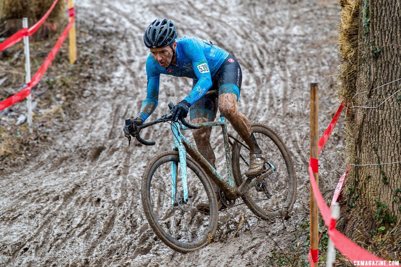 Brandon Dwight swapped between a Donnelly C//C and G//C bike during the race. Masters Men 45-49. 2018 Cyclocross National Championships, Louisville, KY. © K. Baumgardt / Cyclocross Magazine