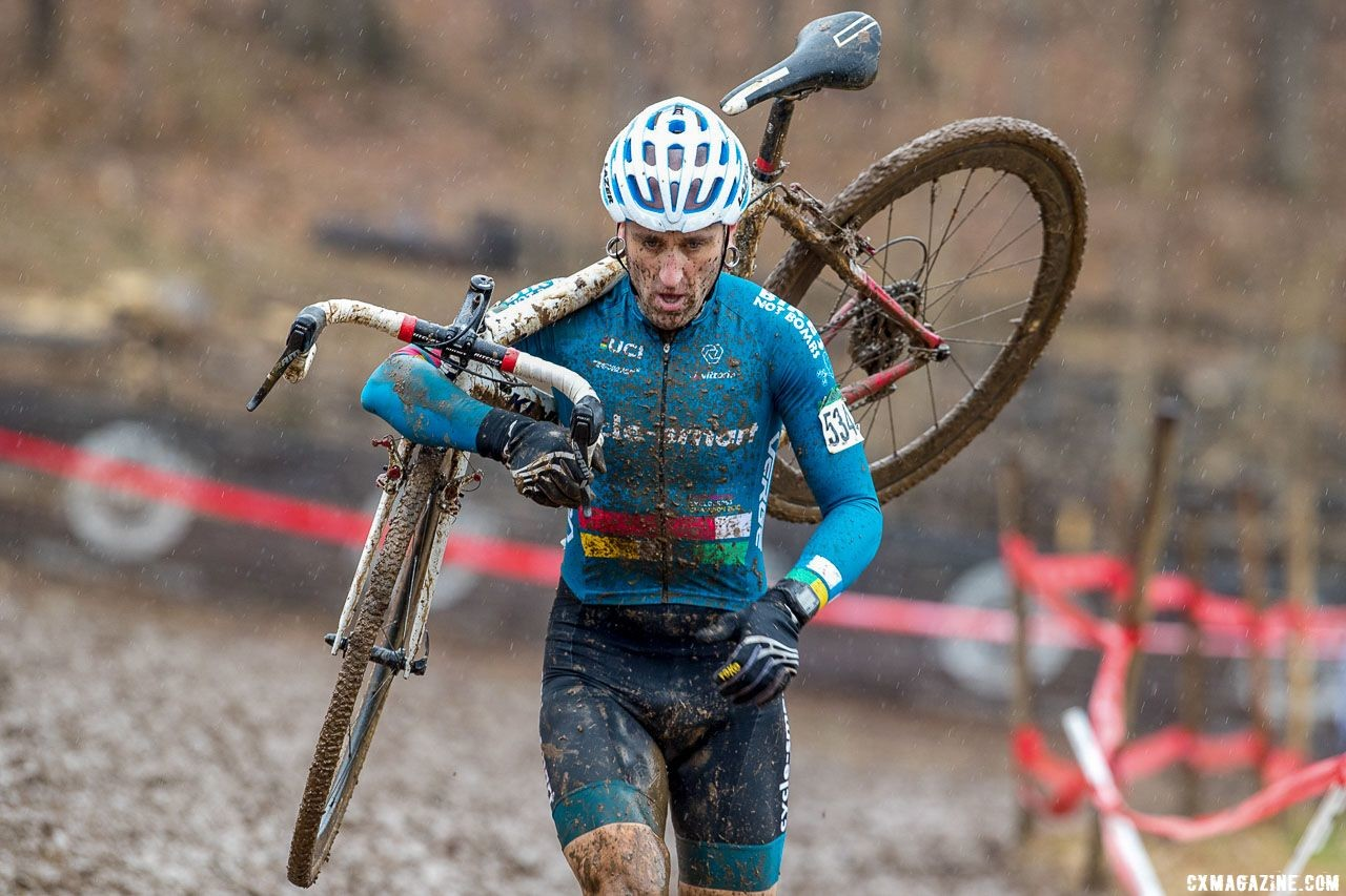 Myerson ran away with the race to win his third title. Masters Men 45-49. 2018 Cyclocross National Championships, Louisville, KY. © K. Baumgardt / Cyclocross Magazine