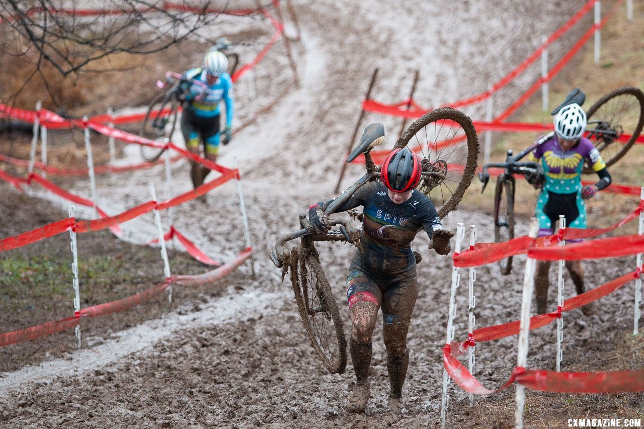 With no choice of gearing riders ran even more of the course than geared categories. Singlespeed Women. 2018 Cyclocross National Championships, Louisville, KY. © A. Yee / Cyclocross Magazine