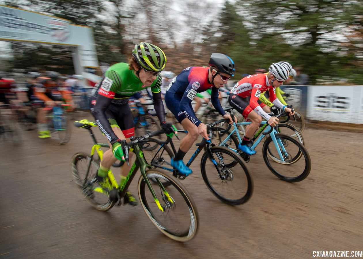 U23 Men racing for the holeshot. 2018 Cyclocross National Championships, Louisville, KY. © A. Yee / Cyclocross Magazine