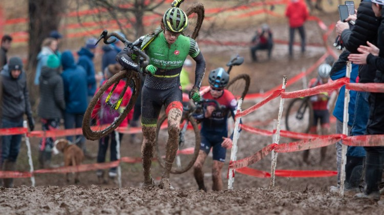 Petrov ran away from Brunner in the first lap. U23 Men. 2018 Cyclocross National Championships, Louisville, KY. © A. Yee / Cyclocross Magazine