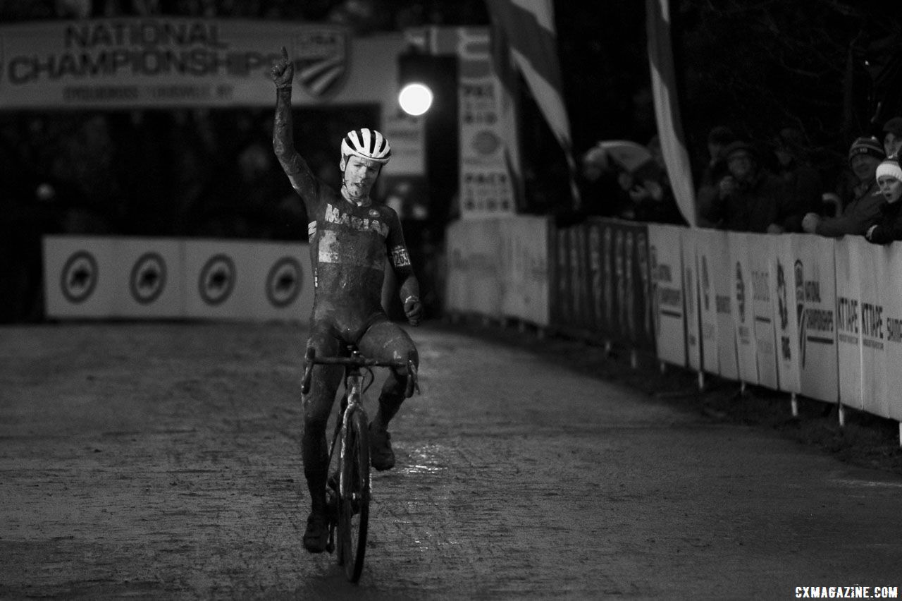 Swartz takes the victory in near darkness. Collegiate Varsity Men. 2018 Cyclocross National Championships, Louisville, KY. © A. Yee / Cyclocross Magazine