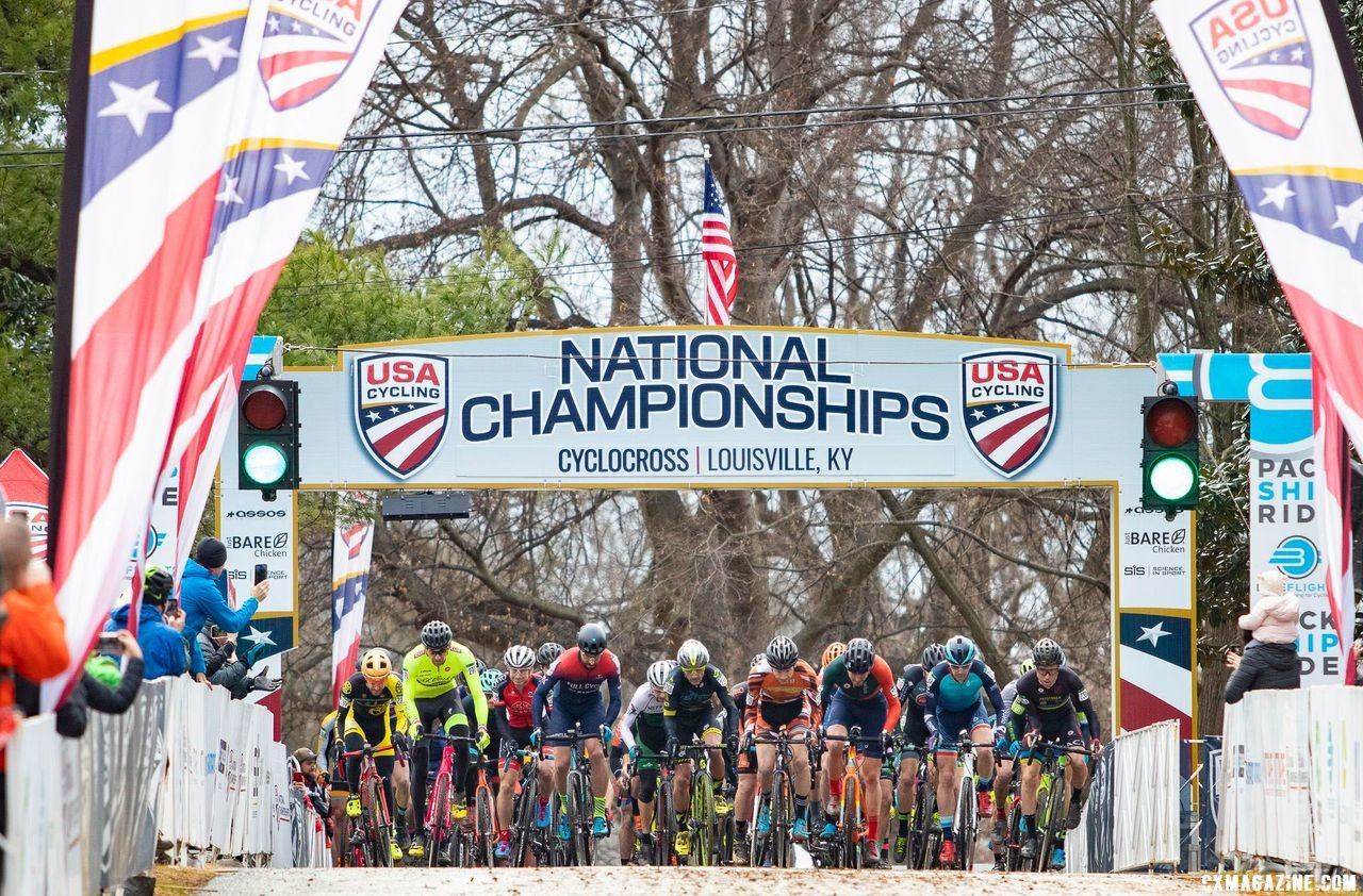 The Men 35-39 field kicked off title racing on Friday. Masters Men 35-59. 2018 Cyclocross National Championships, Louisville, KY. © A. Yee / Cyclocross Magazine
