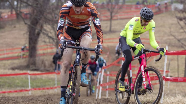 Wittwer leads Drummond toward pit 2. He would go on to win by 20 seconds. Masters Men 35-59. 2018 Cyclocross National Championships, Louisville, KY. © A. Yee / Cyclocross Magazine