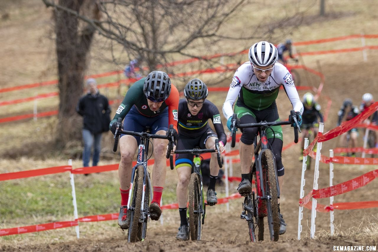 Kevin Bouchard-Hall and Corey Stelljes battled for second and third. Masters Men 35-59. 2018 Cyclocross National Championships, Louisville, KY. © A. Yee / Cyclocross Magazine