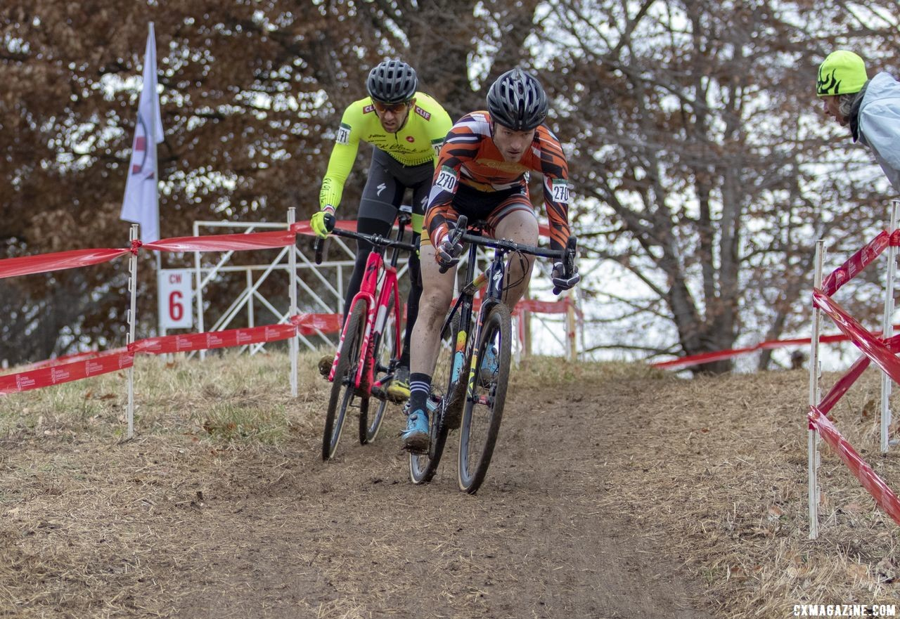 Drummond and Wittwer got off the front in Lap 2. Masters Men 35-59. 2018 Cyclocross National Championships, Louisville, KY. © A. Yee / Cyclocross Magazine