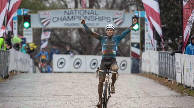 Adam Myerson celebrates his third-straight Nationals win. Masters Men 45-49. 2018 Cyclocross National Championships, Louisville, KY. © A. Yee / Cyclocross Magazine