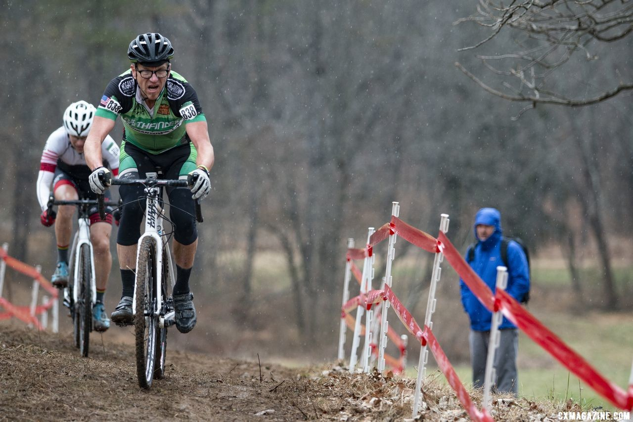 Gunnar Shogren leads the chase, and would finish second. Masters Men 55-59. 2018 Cyclocross National Championships, Louisville, KY. © A. Yee / Cyclocross Magazine