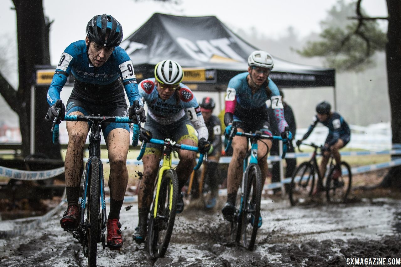 Regina Legge, Rebecca Fahringer and others mix it up. 2018 NBX Gran Prix of Cyclocross Day 2. © Angelica Dixon