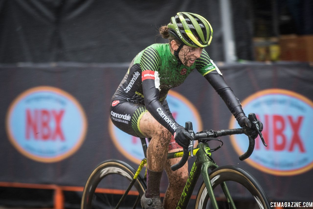 Kaitie Keough crosses the line with a win on the muddy afternoon. 2018 NBX Gran Prix of Cyclocross Day 2. © Angelica Dixon
