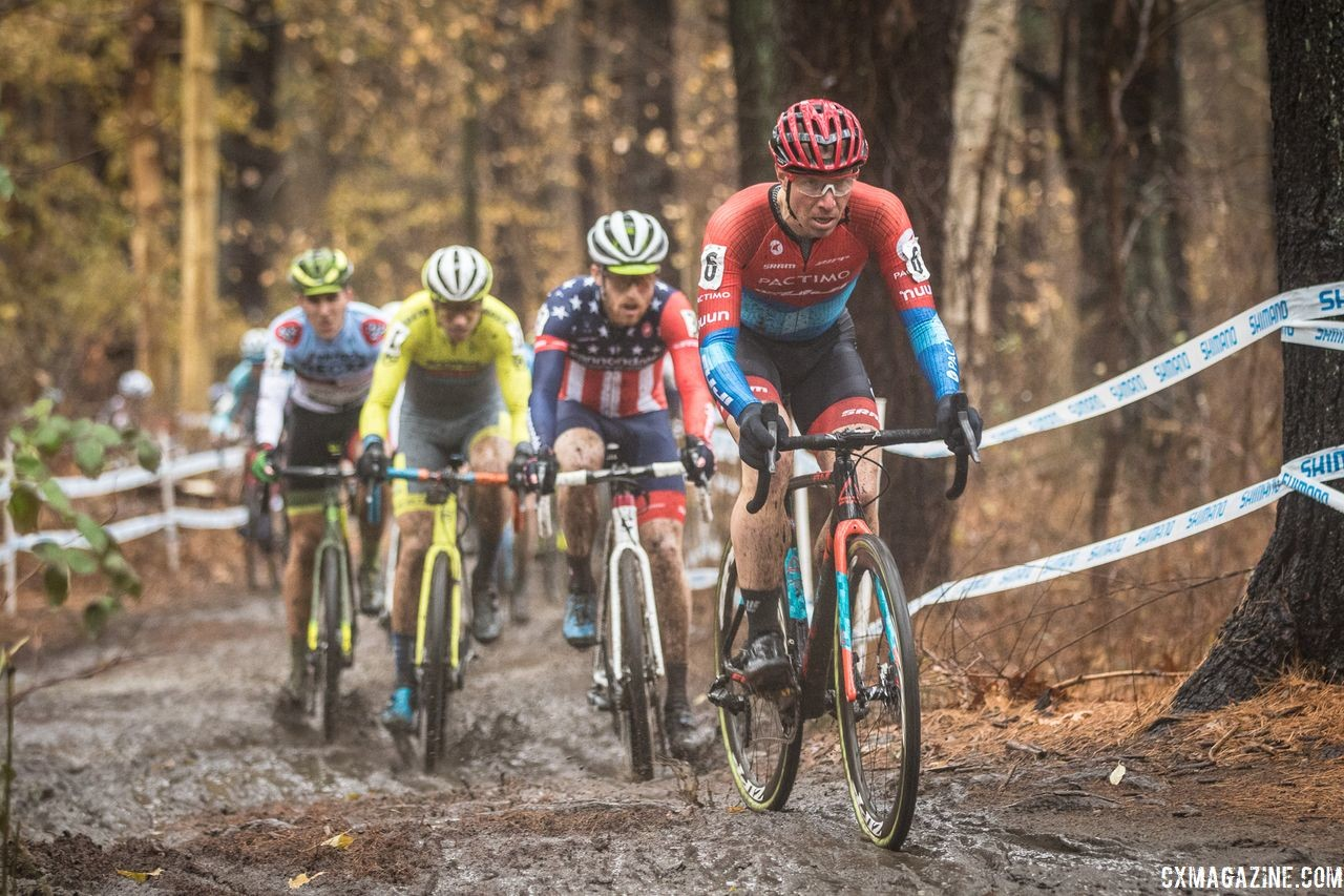 Jeremy Powers leads the way early on. 2018 NBX Gran Prix of Cyclocross Day 2. © Angelica Dixon
