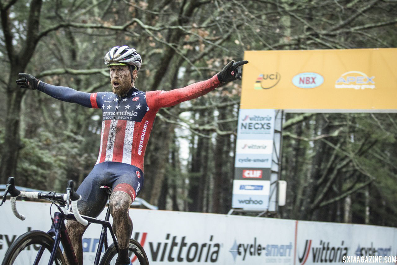Stephen Hyde celebrates his second win of the weekend. 2018 NBX Gran Prix of Cyclocross Day 2. © Angelica Dixon