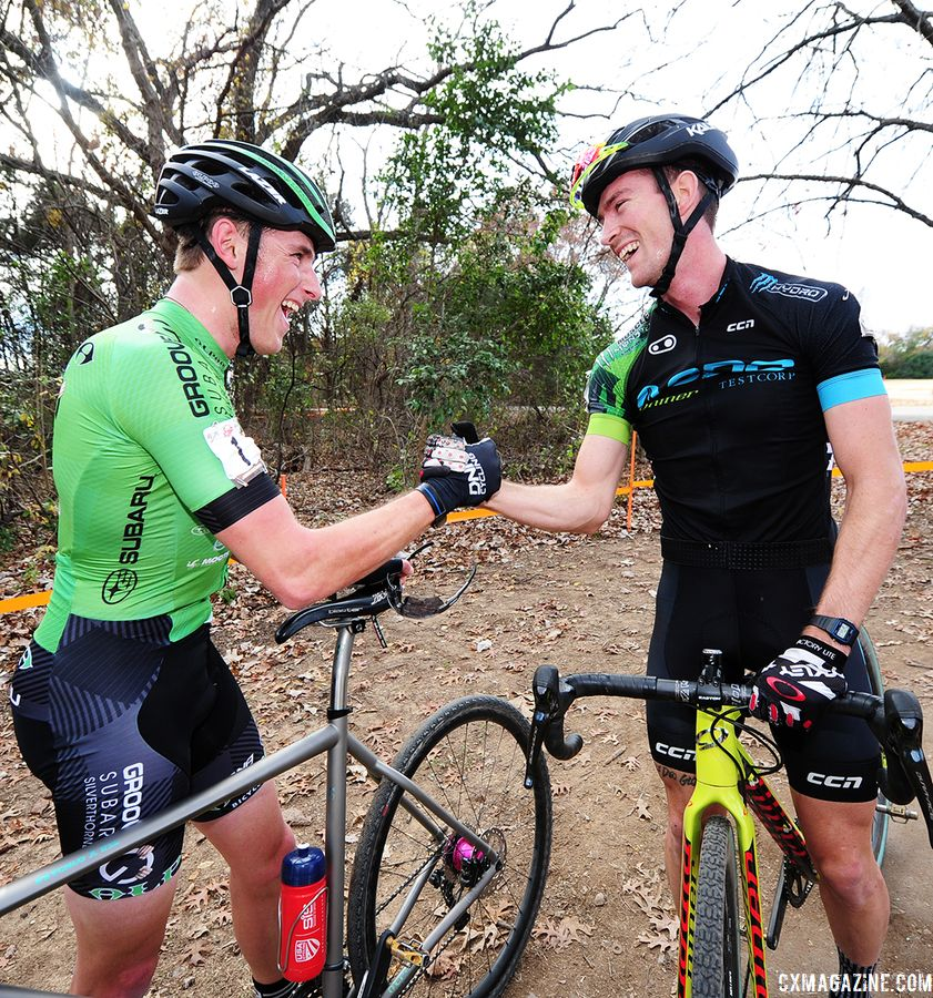 Gage Hecht and Drew Dillman congratulate each other after the race. 2018 Resolution 'Cross Cup Day 2. © Lee McDaniel