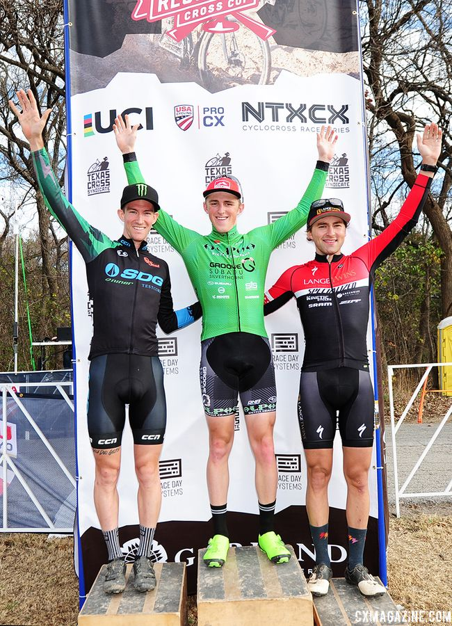 Men's podium: Gage Hecht, Drew Dillman and Cody Kaiser. 2018 Resolution 'Cross Cup Day 2. © Lee McDaniel