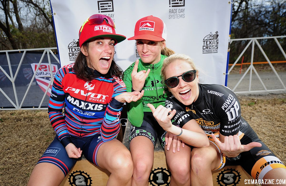 Women's podium: Katie Clouse, Courtenay McFadden and Raylyn Nuss. 2018 Resolution 'Cross Cup Day 2. © Lee McDaniel