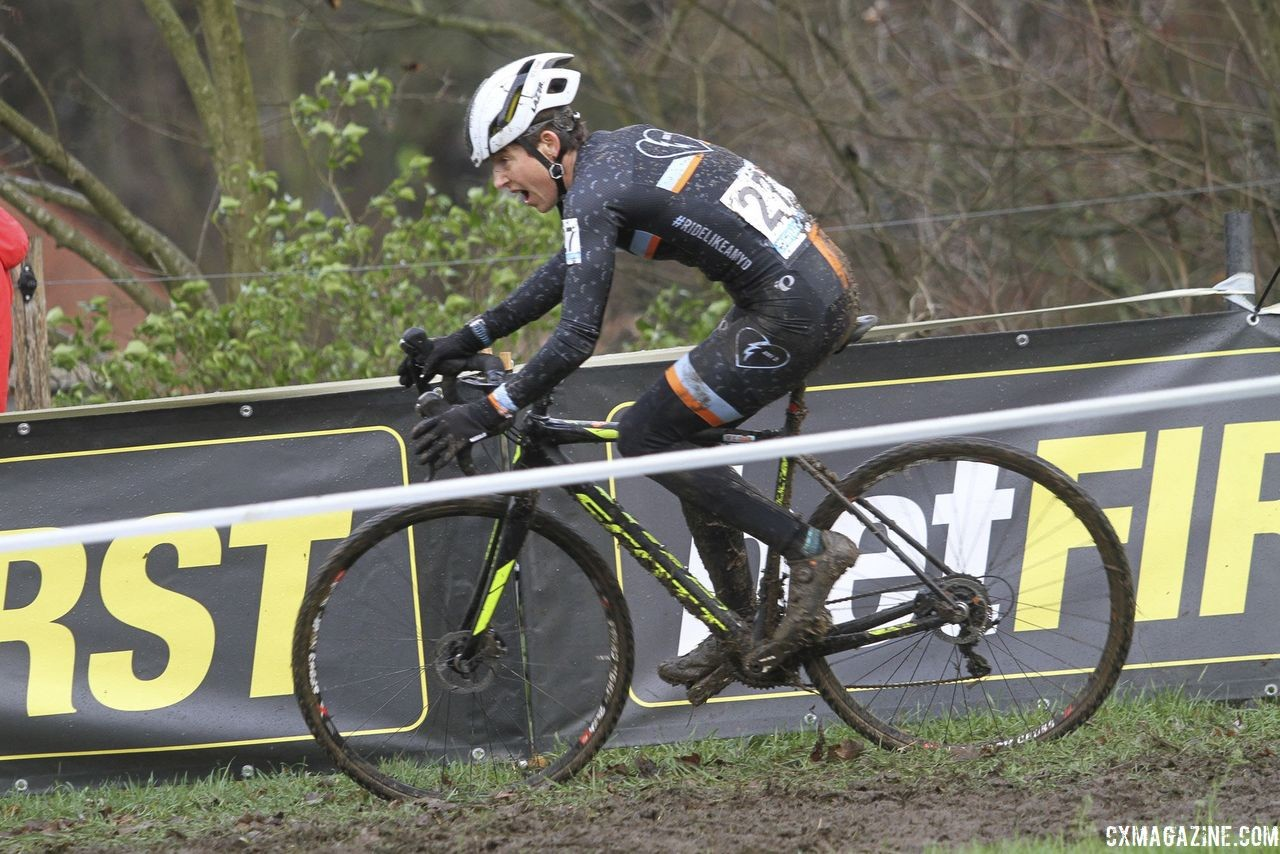 Corey Coogan Cisek finished 15th. 2018 Vlaamse Druivencross Overijse. © B. Hazen / Cyclocross Magazine