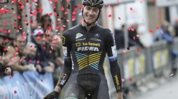 Toon Aerts enjoys the confetti cannon for his win. 2018 Vlaamse Druivencross Overijse. © B. Hazen / Cyclocross Magazine