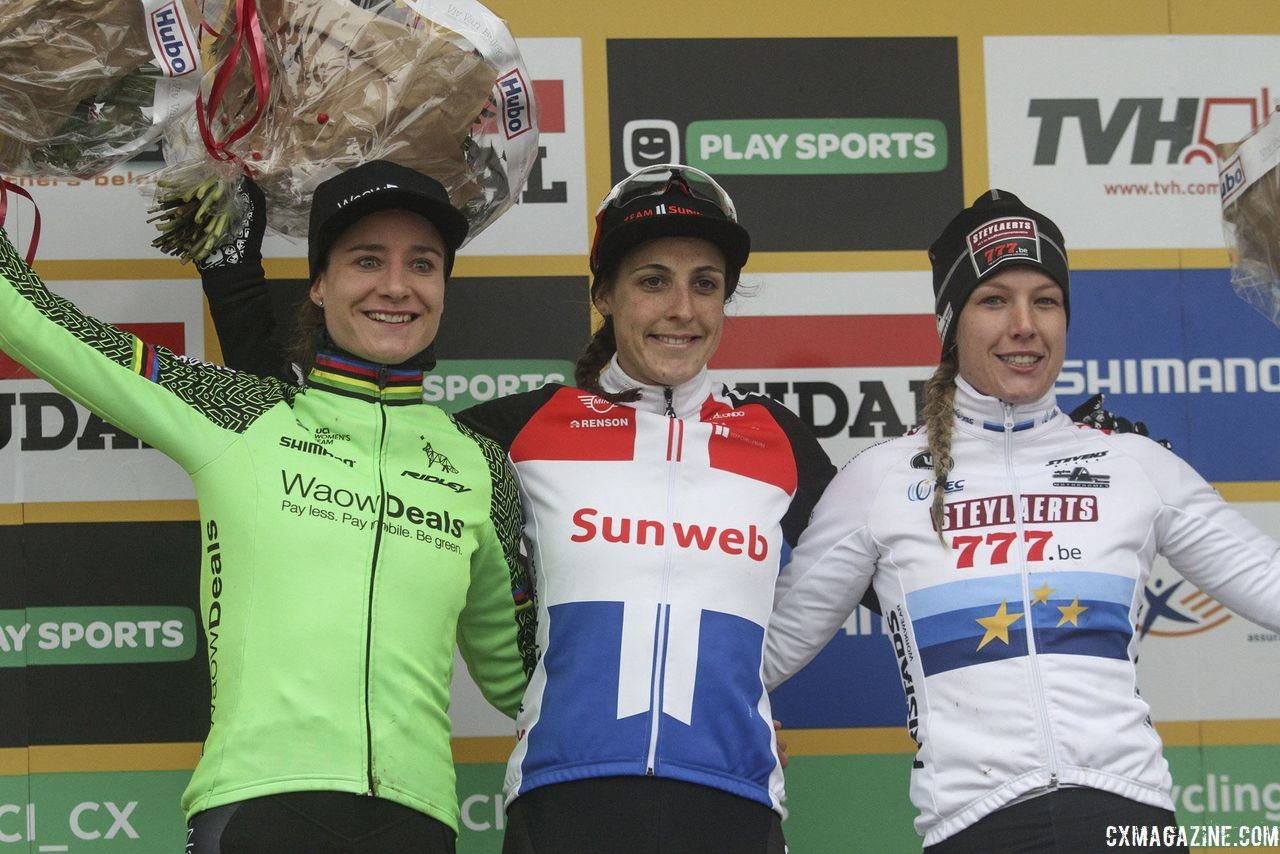 Elite Women's podium: Lucinda Brand, Marianne Vos and Annemarie Worst. 2018 World Cup Namur. © B. Hazen / Cyclocross Magazine