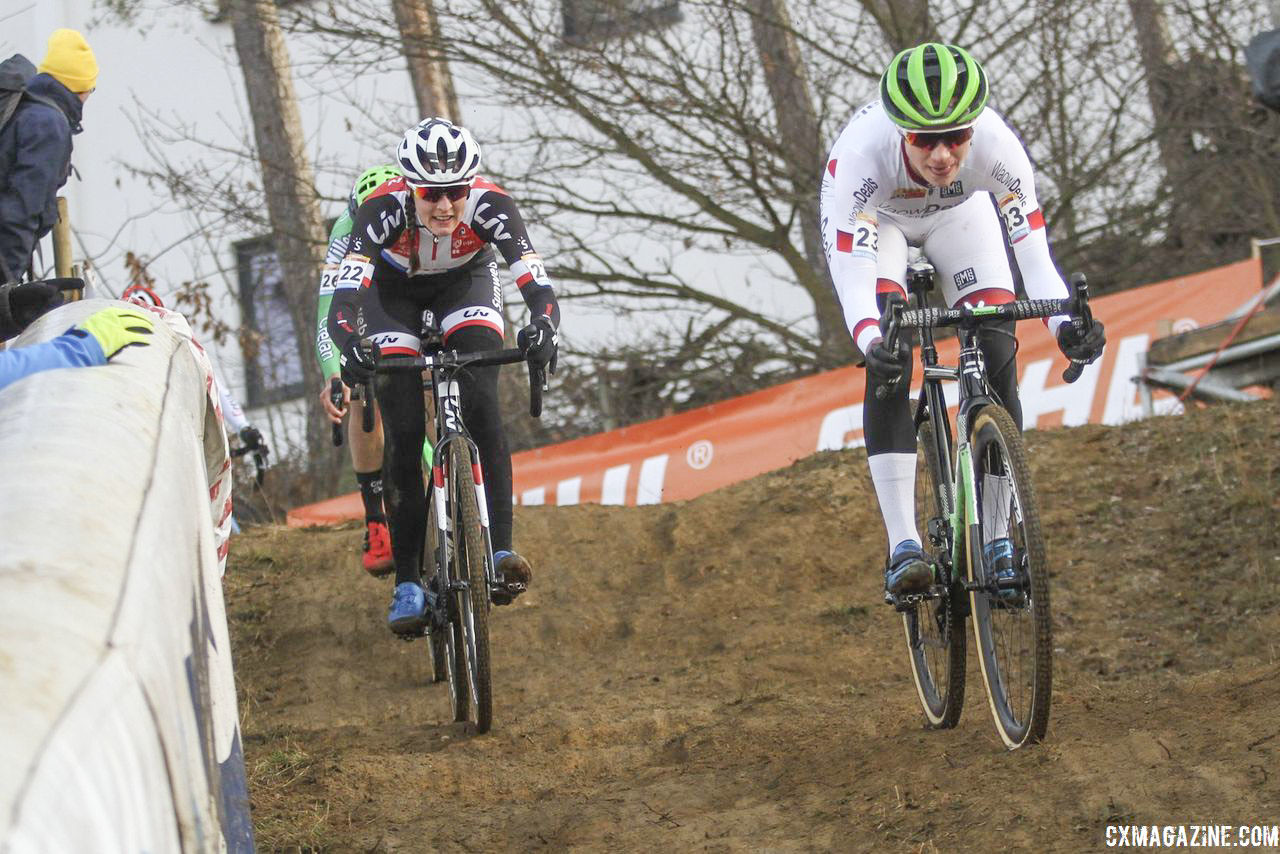 Marianne Vos and Lucinda Brand battled at the front until the last minute of the race. 2018 World Cup Heusden-Zolder. © B. Hazen / Cyclocross Magazine
