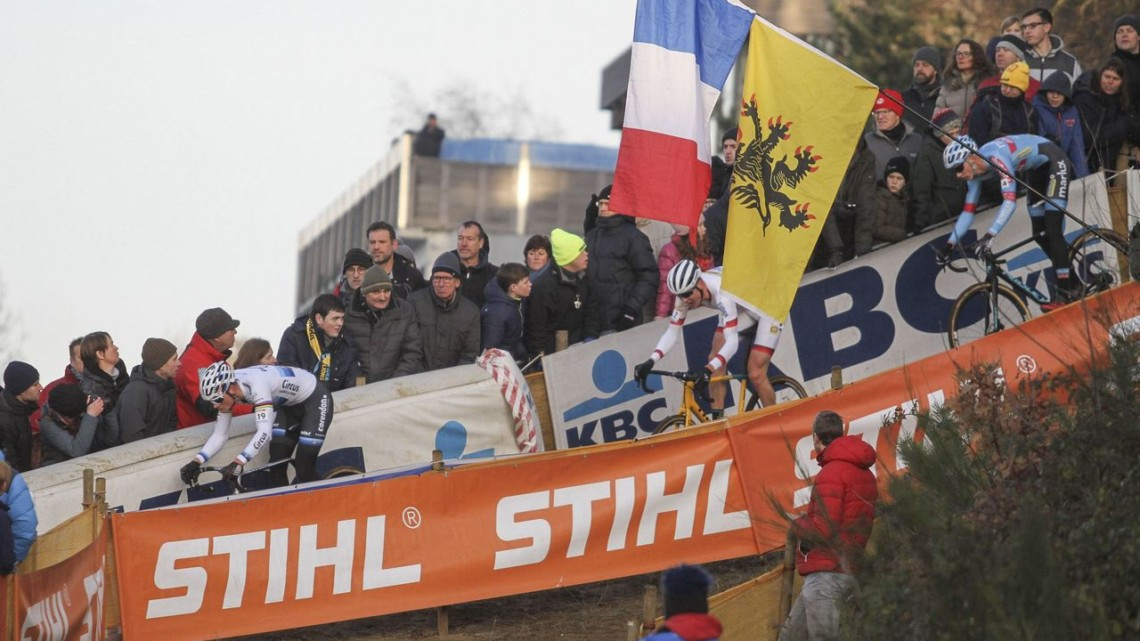 In Lap 3 Mathieu van der Poel took the lead into the technical section then dropped Aerts and Vanthourenhout when Aerts bobbled. 2018 World Cup Heusden-Zolder. © B. Hazen / Cyclocross Magazine