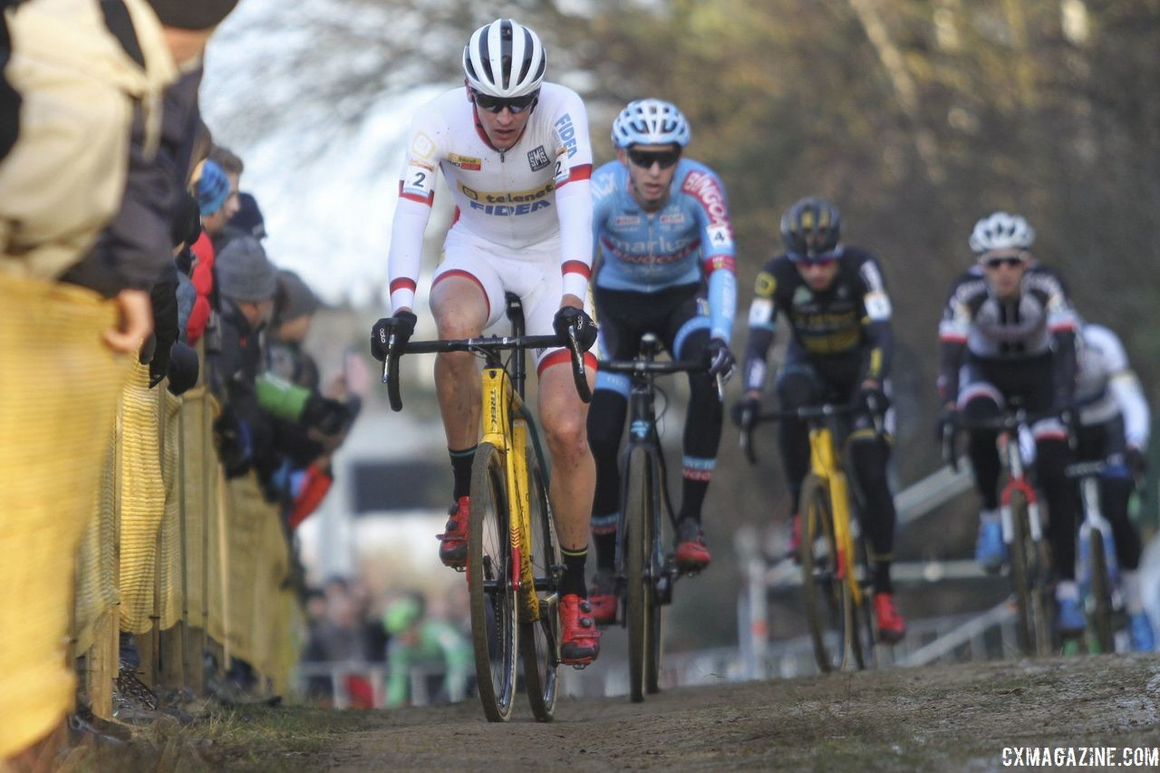 Toon Aerts leads the early chase behind Van Aert and Hermans. 2018 World Cup Heusden-Zolder. © B. Hazen / Cyclocross Magazine