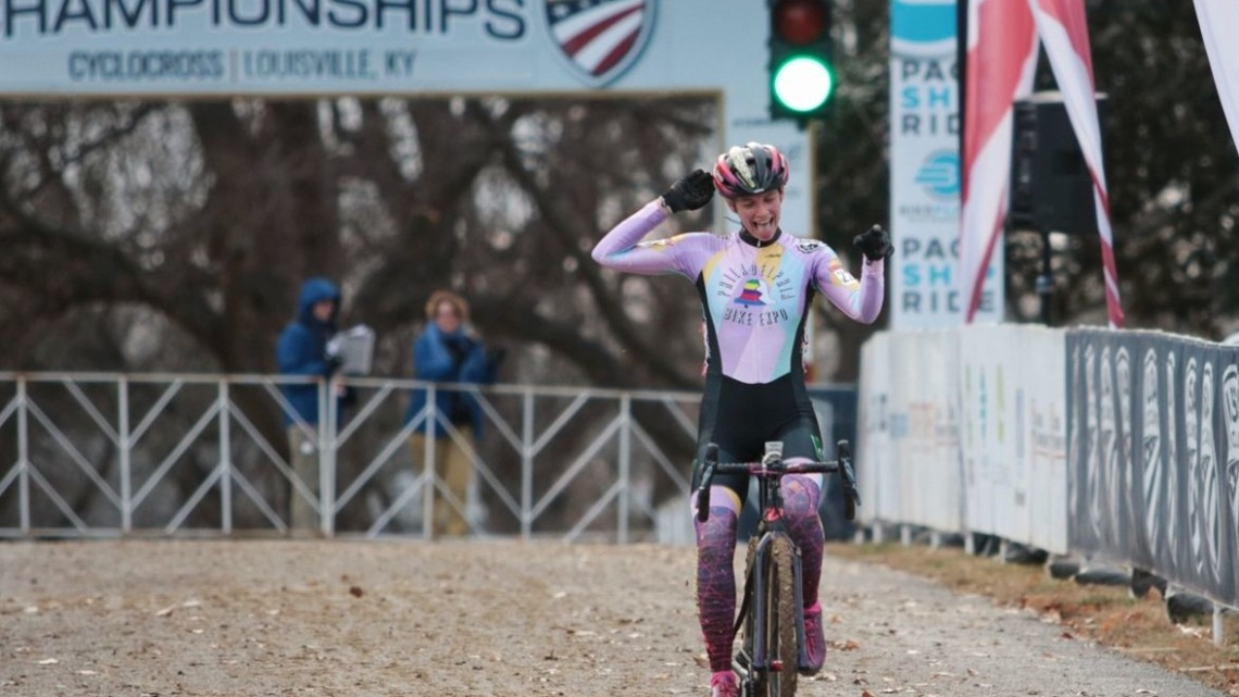 Taylor Kyuk-White won the Women's Masters 30-34 race in Louisville. 2018 Louisville National Championships, Masters Women 30-34. A. Yee / Cyclocross Magazine