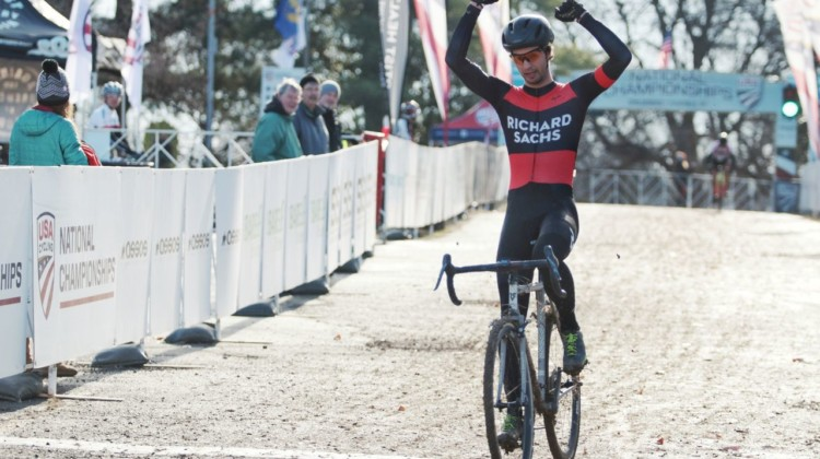 Dan Chabanov took the win in the Masters 30-34 race in Louisville. 2018 Louisville Cyclocross National Championships, Masters Men 30-34. A. Yee / Cyclocross Magazine