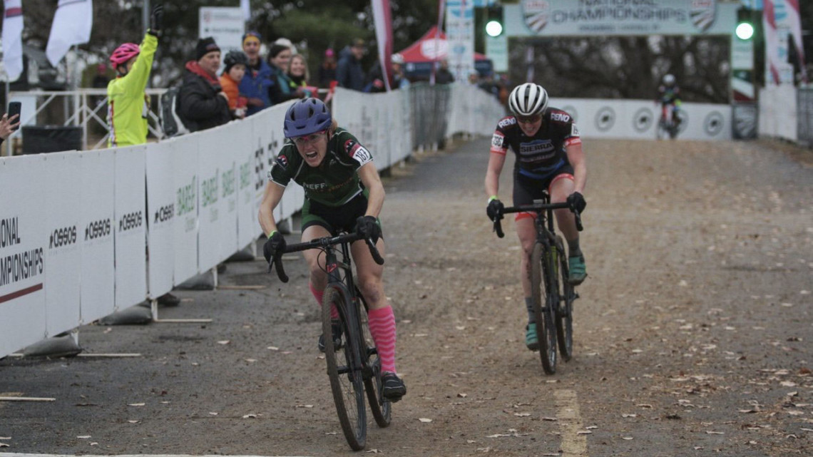 Holly LaVesser beat Suzanne Snyder in a sprint. Masters Women 35-39. 2018 Cyclocross National Championships, Louisville, KY. © A. Yee / Cyclocross Magazine